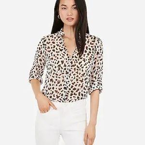 Express Slim Fit Leopard Ruffle Chiffon Blouse, S